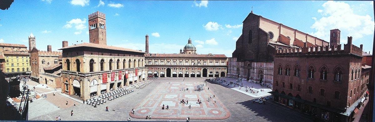 The Piazza Maggiore in Bologna