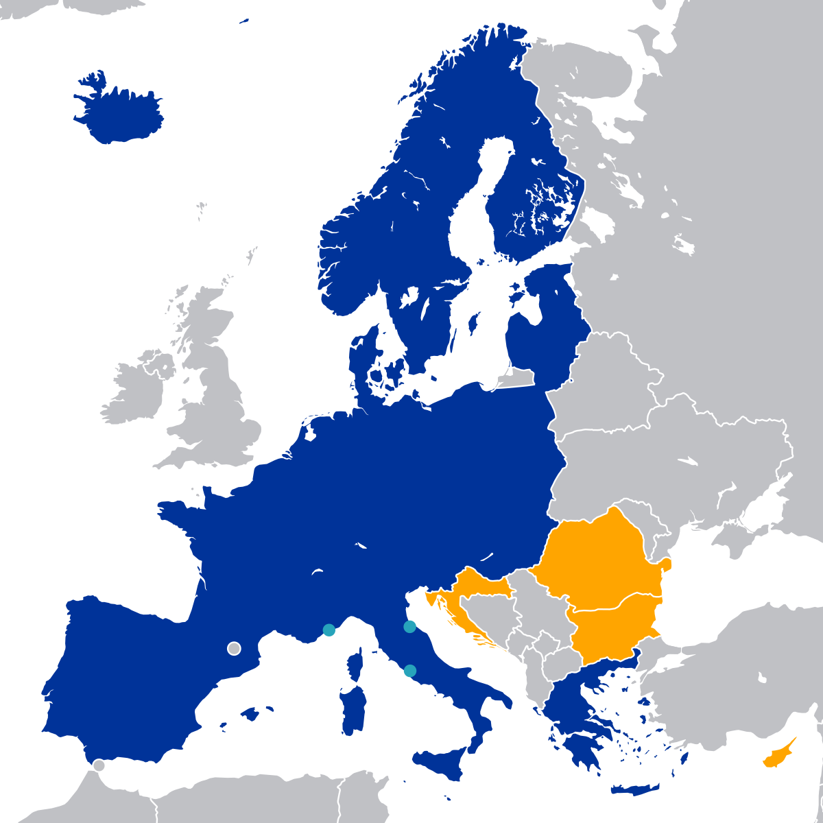 The Schengen countries